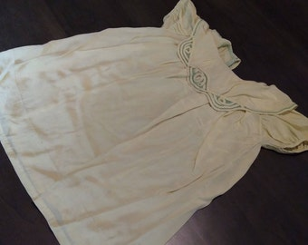 Toddler/Large Doll 1940s Hand Made Silk(?) Dress