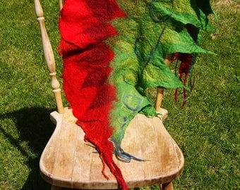 Rose felted shawl / hippy rose shawl / colorful felted shawl / felted shawl  / wet felted shawl / hippy felted shawl / rose scarf