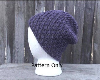 Crochet Slouchy Beanie Pattern - Women's Hat Pattern - Instant Digital Download - Men's Beanie Pattern- Crochet Skullcap Pattern
