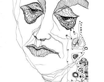Porträt Traurig Tuschezeichnung Illustration Abstrakt