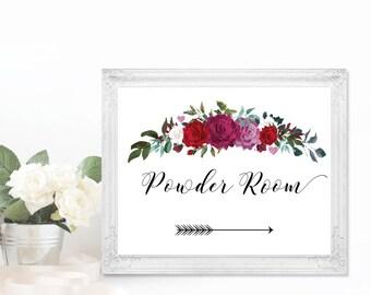 Wedding Powder Room Sign | Printable Wedding Sign | Custom Powder Room Sign | Printable Sign | Floral Directional Sign | Bathroom Sign Arrow