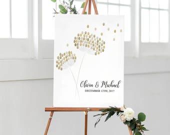 Dandelion Fingerprint Guest Book | Printable Fingerprint Guestbook | Wedding Dandelion Guest Book  | Thumbprint Guestbook | Fingerprint Sign