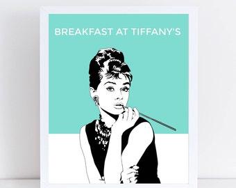 Audrey Hepburn Digital Print   Breakfast at Tiffany's Print   Digital Art   Printable Art   Instant Download   Audrey Hepburn Wall Art