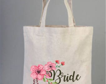 Bridal bags, Bride Tote Bag with Pink Flowers, Wedding Bags, Natural Bags, Personalized Bridal Tote,  Bridesmaid Gifts, Bridal Shower Gifts