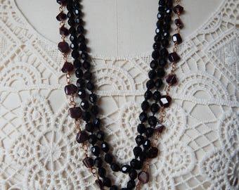 Otranto - Gothic Garnets and Cast Brass Gargoyle Necklace plus French Jet Flapper Bead Necklace - 2 Pieces