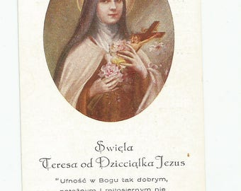 Antique Holy Card for a Nun's Golden Jubilee, St. Therese the Little Flower, Catholic Collectible, Carmelite, Poland