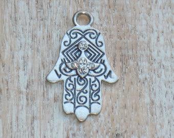 Silver Pewter Hamsa Crystal and Heart Pendant, Hamsa Charm