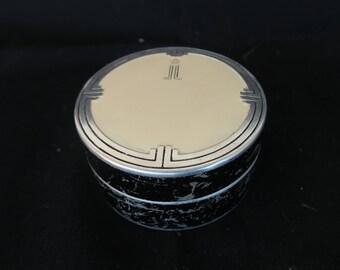 Boite a poudre ancienne de collection parfumerie Lenthéric,décor style Hoffman, Old powder box, Caja de polvo viejo perfume coleccionable
