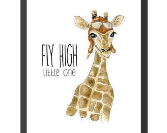 Fly High Little One - Giraffe Print - Instant Digital Download