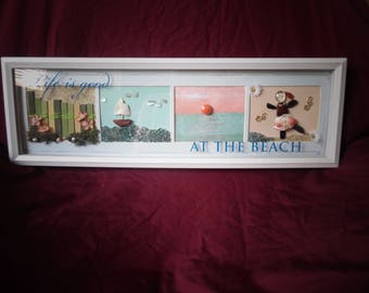 "Hand Made ""Life is Good, At the Beach"" Shadowbox Art"
