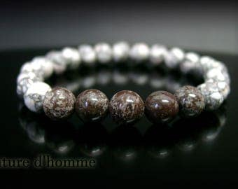 Marble and Ref snowflake Obsidian stone Bracelet: BN-372