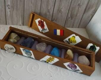 Coffret de collection  - pièce  unique  - Style '' Timbre '' - Thème '' les Minéraux '' - Collection de pierres minérales - Minéraux - Gemme