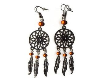 "Dream catcher earrings and orange magic beads ""/ gift/earring dreamscatcher"