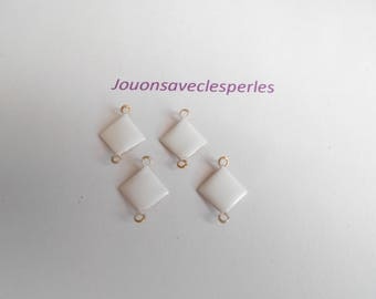 4 white enameled connectors two-faced