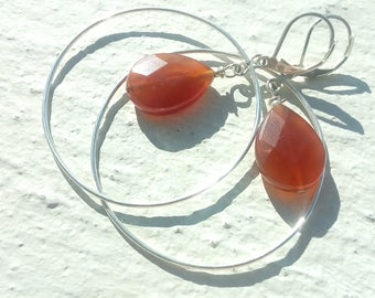 "Silver hoop earrings ""carnelian drops"""