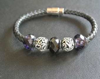 Mens bracelet purple and black glass faceted beads interspersed with silver arabesques metal beads on