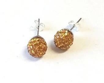 Stud Earrings 10 mm topaz rhinestones