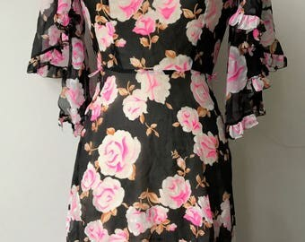 Trumpet Ruffled Sleeve Floral Dress
