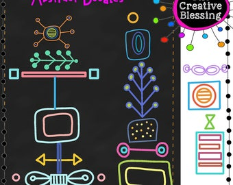 Abstract  Retro Doodle Hand Drawn Clip Art