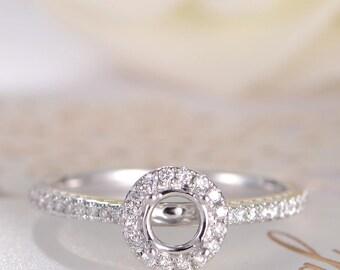 White Gold semi Mold Engagement Ring Bridal Wedding Ring Halo Diamond Half Eternity Ring Classic Minimalist Anniversary Gift Promise Women