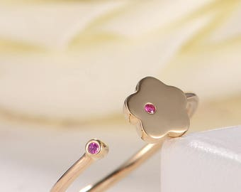 Adjustable Ring Ruby August Birthstone Rose Gold Open Flower Ring Unique Woman Plain Ring Stacking Ring Set Anniversary Gift Minimalist