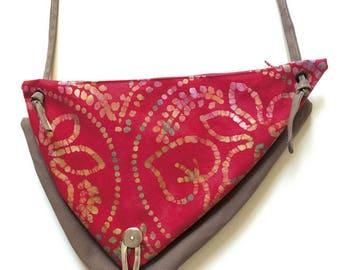 "Indonesian batik ""bi-poches"" shoulder bag"