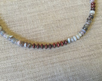 Men gray Botswana agate and Red Jasper necklace.