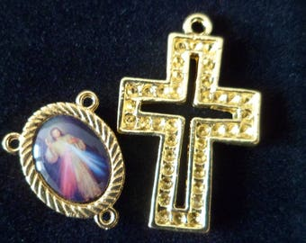 Kit gold Rosary, cross and God Jesus Rosary Center