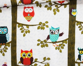 Fabric owls, owls, 100% cotton printed 50 x 160 cm, owls, owls on trees pattern