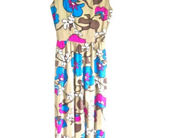 L 60s Jumpsuit Graphic Floral Print Tan Blue Pink Brown Long Maxi Hawaii Island Tiki Resort by Maeko's VLV Large
