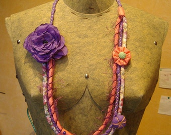 fabric necklace Bohemian MULTISTRAND made entirely by hand