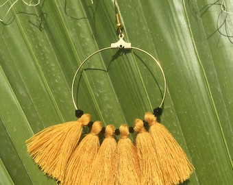 Hoop earrings gold Gold Filled tassels mustard and black beads