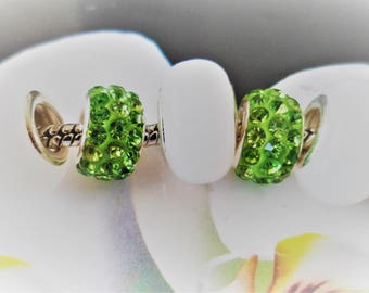 Set of 5 Charms resin white snow and green rhinestone European beads