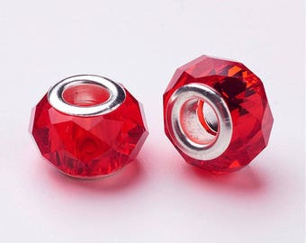 2 faceted Red Crystal beads Pandora style