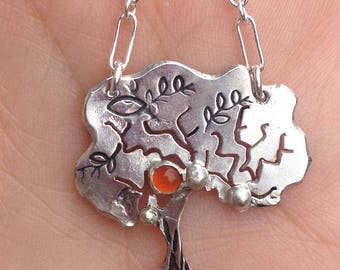 Sterling Silver and Peach Moonstone Tree Necklace