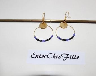 hoop earrings gold purple black beads
