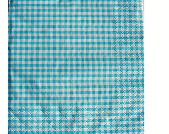Set of 3 turquoise HOD071 gingham paper napkins