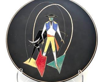 Vintage Ruscha Handarbeit West German Ceramic Plate - Torero, Mid-Century