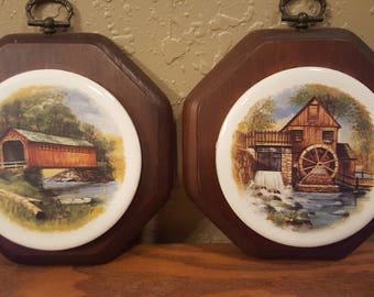 Vintage wood and tile wall trivets.  Vintage ceramic and wood wall decor with covered bridge art.  Octagonal shape.