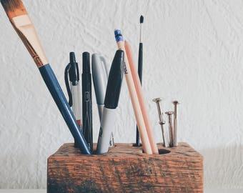 Reclaimed Wood Desk Organizer, Pencil Holder, Industrial Desk Accessory, Rustic Desk Storage, Industrial Design, Rustic Groomsmen Gift