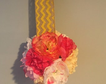 Peony and bling flower ball hanging