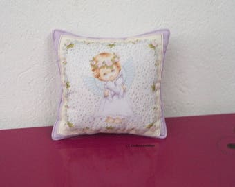 Purple cotton fabric with a little angel pillow