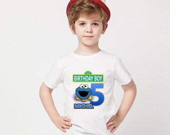Cookie Monster Birthday Shirt,Cookie Monster Custom Shirt,Personalized Cookie Monster  Shirt,Cookie Monster  family shirts,Birthday t-shirts
