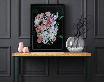 Printable Wall Art - Dark elegant flowers
