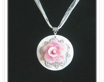 Romantic Pearl pendant and Fimo flower.