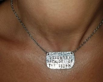 Hammered necklace with custom wording