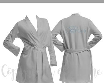 Personalised Grey Cotton Bridal Party Robe, Diamante Bride Dressing Gown, Bridesmaid Robe, Wedding Robes -  Bridal Dressing Gown