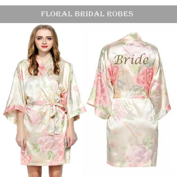 Personalised Vintage Floral Satin Bridal Robes Champagne.