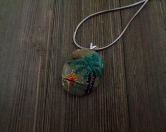 Palm Trees, Palm Tree Pendant, Painted Palm Tree Pendant, Painted Jewelry, Sunset Pendant, Painted Stone