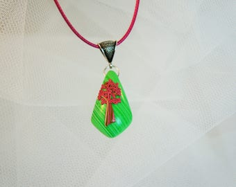 pendant necklace embossed tree green and pink, unique, colorful jewel red green striped, 3D pendant jewelry tree of life green pink red